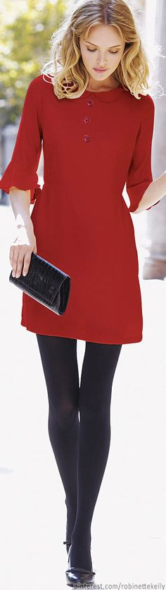simple red dress with 1/2 sleeves (with great detailing), faux buttons, and adorable Peter Pan collar
