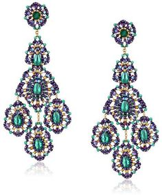 Miguel Ases Green Onyx 14k Gold Filled Triple Drop Earrings on shopstyle.com