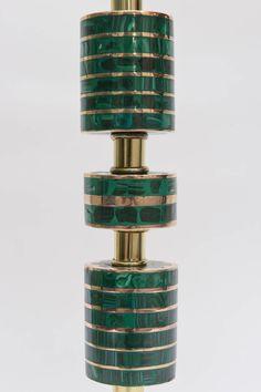 Pepe Mendoza Style Polished Brass, Bronze and Malachite Table Lamp  | 1stdibs.com