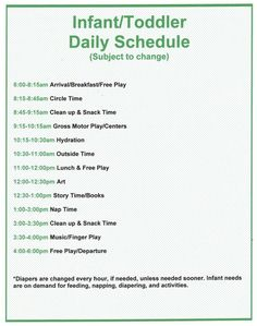 Infant Daily Schedule For Daycare Home Daycare Schedule, Preschool Schedule, Preschool Programs, Toddler Schedule, Home Daycare Rooms, Toddler Daycare Rooms, Toddler Play, Infant Lesson Plans, Lesson Plans For Toddlers