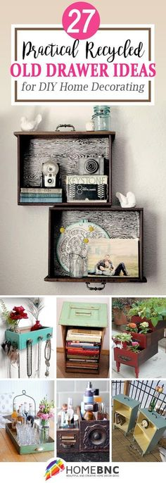 27 Practical And Easy Recycled Old Drawer Ideas For DIY Home Decorating  #handmadehomedecor