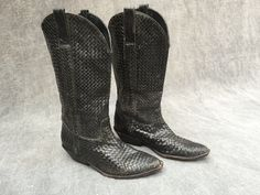 90's Cole Haan Woven Black Leather Riding Boots - Women's Size 9 by ElkHugsVintage on Etsy