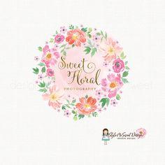 watercolor flower logo florist logo floral by BloomingJuneDesignCo