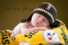 Crochet Baby Hat  Football Ear Flap Hat - Need this for football season!