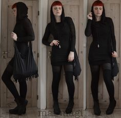 Powering through exam season ☛ Dress from H&M Handmade bag and necklace Everything else is thrifted Dark Fashion, Gothic Fashion, Cool Outfits, Casual Outfits, Fashion Outfits, Casual Goth, Wearing All Black, Gothic Outfits, Alternative Fashion