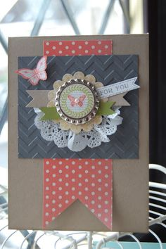 Collage Curios stamp set, paper doily, soda pop tips, tea for two DSP, Chevron TIEF
