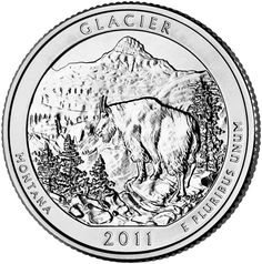 "Reverse of 2011 ""America the Beautiful"" United States quarter dollar coin, depicting Glacier National Park. Available now at Lear with IRA Eligibility. Call (800) 783-1407 for more info or visit http://www.learcapital.com/encyclopedia/269/moredetail.html"