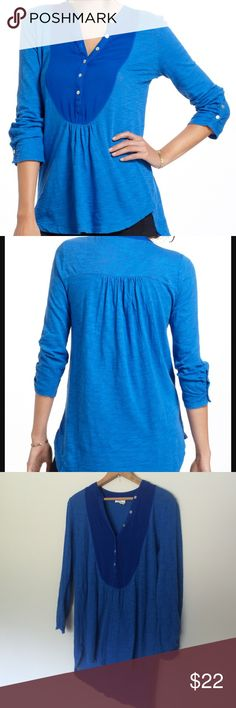 Anthropologie ( Meadow Rue ) Top EUC | Gorgeous blue | Cotton body with chest area in a soft rayon | 3/4 sleeve | runs big Anthropologie Tops
