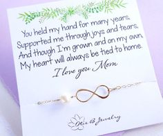 Mothers card with infinity bracelet pearl by OtisBJewelryGifts