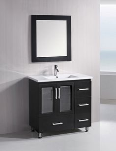 The Stanton 36 inch vanity is elegantly constructed of solid hardwood. The porcelain countertop and seamlessly integrated sink design contrast with the rich features of the espresso cabinetry to bring