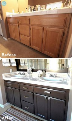 I'm so happy that I found these cheap DIY home improvements on a budget. Now I can finally make improvements and upgrades to my home for without breaking my budget. diy home improvement 20 DIY Home Improvements and Upgrades That Won't Break Your Budget Bathroom Mirror Makeover, Bathroom Mirrors Diy, Bathroom Ideas, Paint Bathroom Cabinets, Refinish Bathroom Vanity, Easy Bathroom Updates, Framed Mirrors, Painting Oak Cabinets, Painting Bathroom Vanities