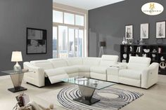 Modern White Leather Reclining Sectional Sofa Chaise Console Speaker