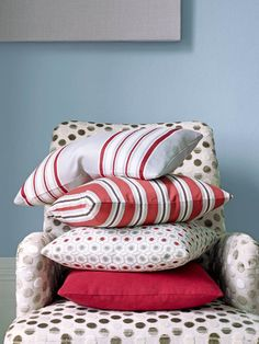 Jane Churchill's Tellina (chair), Camber Stripe (top pillow), Salthouse Stripe (second pillow), Cornelia (third pillow), Lisson (bottom pillow) #interiors #janechurchill #textiles