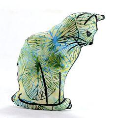 cat profile shaped medium pillow kitty shaped blue by pattihaskins