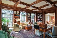 Briarwood Lane - traditional - home office - dallas - J Wilson Fuqua & Assoc. Home Office, Coffered Ceiling, Traditional Home Office, Interior Design, Home, Tudor Style Homes, Briarwood, Architectural Elements, Built In Bookcase
