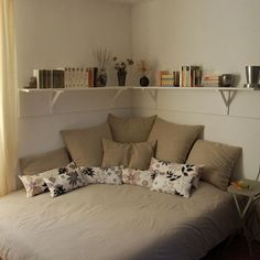 corner bed and shelves