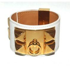 Hermes Collier De Chien White Epsom Leather Bracelet ... <3