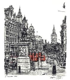 View of Whitehall from Trafalgar square - drawings and paintings by Stephen Wiltshire MBE