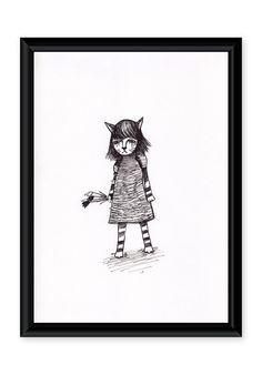 Original art, Catgirl by TinyLabShop on Etsy #drawing #cat #girl #pigmentLiner #original #Etsy