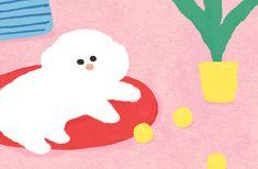 [텐바이텐] 1월 배경화면 #텐바이텐 #디자인 #일러스트 #컬러 #강아지 Cut Paper Illustration, Character Illustration, Graphic Illustration, Cat Character, Character Drawing, Character Design, Mood Gif, Illustrations And Posters, Drawing For Kids