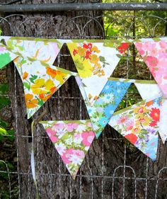 bunting  garland  banner  vintage linens // over 9 by simpledream2, $17.50