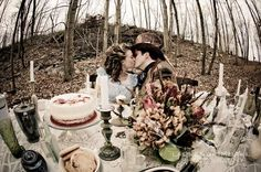 Alice in Wonderland engagement photo by Lauren Brimhall.