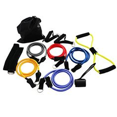 Magicdo Resistance Band Set Strong Exercise Band with Durable Exercise Tube Door Anchor Handle for Leg Fitness Workout Weight Loss Resistance Tube Kit for Travel  Home Gym 12 Pcs * Click image for more details.