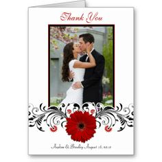 Red Gerbera Daisy Floral Thank You Card