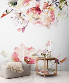 Spring Floral Removable Wallpaper, Watercolor wall mural, Peel and stick wall mural, Floral mural, Wall murals # 2 - Wall Painting Tips Pink Bedroom Decor, Pink Bedrooms, Bedroom Ideas, Rose Bedroom, Mural Floral, Floral Wall, Floral Theme, Watercolor Wallpaper, Watercolor Walls
