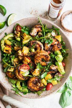 Shrimp Salad Recipes, Seafood Recipes, Dinner Recipes, Cooking Recipes, Healthy Recipes, Spicy Grilled Shrimp, Spicy Shrimp Salad, Fish Salad, Comida Picnic