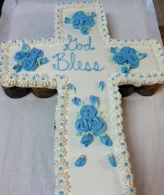 Cupcake cross, 1st communion or confirmation party cake easy to serve! Made by Ye Olde Pie Shoppe732-530-3337
