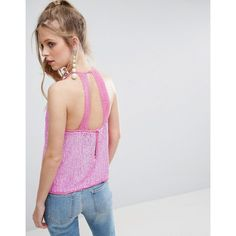 ASOS Sequin Cami with Lace Open Back (72 CAD) ❤ liked on Polyvore featuring tops, pink, lace cami top, sequin tank top, lace tank, sequin top and open back tank top