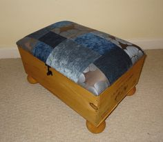 Footstool - Up-cycled Rustic Wine Crate & Blue Velvet Patchwork Storage Footstool