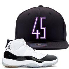 76ccedec7c5fe4 Jordan 11 Concord 45 Sneaker Matching 45 Logo Black Snapback Hat