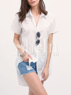 Shop White Mock Neck Side Slit Tshirt Dress online. SheIn offers White Mock Neck Side Slit Tshirt Dress & more to fit your fashionable needs.