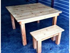"""48"""" Square Farmhouse Table and Bench in Natural Stain"""