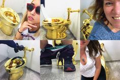 """SOURCE: http://www.vulture.com/2016/11/maurizio-cattelan-america.html?mid=t...  The Guggenheim is currently exhibiting America, an installation by the artist Maurizio Cattelan that consists of a fully functional 18-karat-gold toilet. The piece invites visitors, in the words of the museum, to have """"an experience of unprecedented intimacy with a work of art."""" Here is a selection of images posted on social media by visitors to the exhibit. The average wait to view or otherwise interact with…"""
