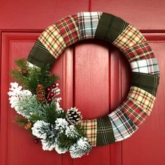 Flannel scraps from thrifted shirts can be used to create this gorgeous winter cabin wreath. Perfect for Christmas AND all winter long.