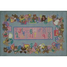 Fun Rugs Supreme Teddies and Letters Kids' Rug, Light Blue, 3'3 inch x 4'10 inch, Multicolor