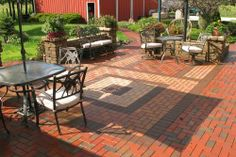 Great Outdoor Living area using Clay pavers with awesome inlays. Clay Pavers, Outdoor Living Areas, Design Elements, Lego, Patio, Awesome, Outdoor Decor, House, Home Decor