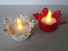 Horgolt teamécses tartó - crocheted tealight holder