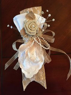 Bride's corsage for bridal shower, burlap & lace.  Handkerchief that bride can disassemble and give to her mother before wedding ceremony.