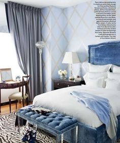 having a blue crush on this bedroom♥ lucite tufted bench, crushed velvet headboard & perfect periwinkle wallpaper....