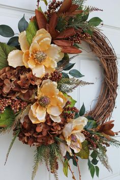 Beautiful Gold and Brown Magnolia Hydrangeas Vintage Grapevine Wreath. Accented with Brown Berries, Brown Magnolias and Hydrangeas and Green and Brown Pine needles for a vintage look on an 18 inch grapevine. Diy Fall Wreath, Autumn Wreaths, Holiday Wreaths, Spring Wreaths, Summer Wreath, Wreath Ideas, Magnolia Wreath, Deco Floral, Grapevine Wreath
