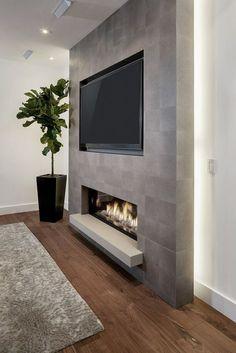 Living Room Tv Wall Decor Ideas Fire Places 40 Ideas For 2019 Room Design, Family Room Design, Basement Fireplace, Fireplace Design, New Homes, Trendy Living Rooms, Fireplace, Living Room Tv Wall, Diy Fireplace