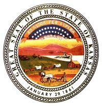 The Symbol on the Official State Seal of Kansas, rising sun represents the east; the river and steamboat are of commerce; the cabin, settler and plow horses represent agriculture; oxen drawn wagon, west; buffalo pursued by indians, history. Thirty four stars, 34th state admitted to the Union and motto above, meaning 'to the stars through difficulties'
