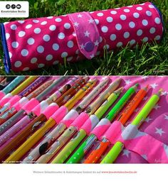 Schnittmuster Pinsel und Federbeutel: www. Sewing Patterns For Kids, Sewing For Kids, Knitting Patterns, Fabric Crafts, Sewing Crafts, Sewing Projects, Crayon Holder, Pencil Bags, Sewing Rooms