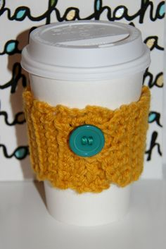 A crocheted cup cozy!  A really quick and easy crochet project.  Good for a beginner.