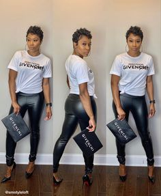Such a cute and simple look! Shop the givenchy inspired tee and faux leather leggings now! Trendy Summer Outfits, Trendy Clothes For Women, Winter Fashion Outfits, Cute Casual Outfits, Sexy Outfits, Stylish Outfits, Leather Jeans, Leather Leggings, 16th Birthday Outfit