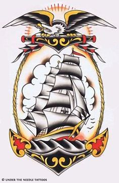 Discover the meaning behind Sailor Jerry's famous old school tattoos, from dragon tattoos to classic skull tattoo designs. Visit our Website for Traditional Ship Tattoo, Traditional Tattoo Old School, Navy Tattoos, Anchor Tattoos, 3d Tattoos, Dragon Tattoos, Tattoo Black, Sleeve Tattoos, Desenhos Old School
